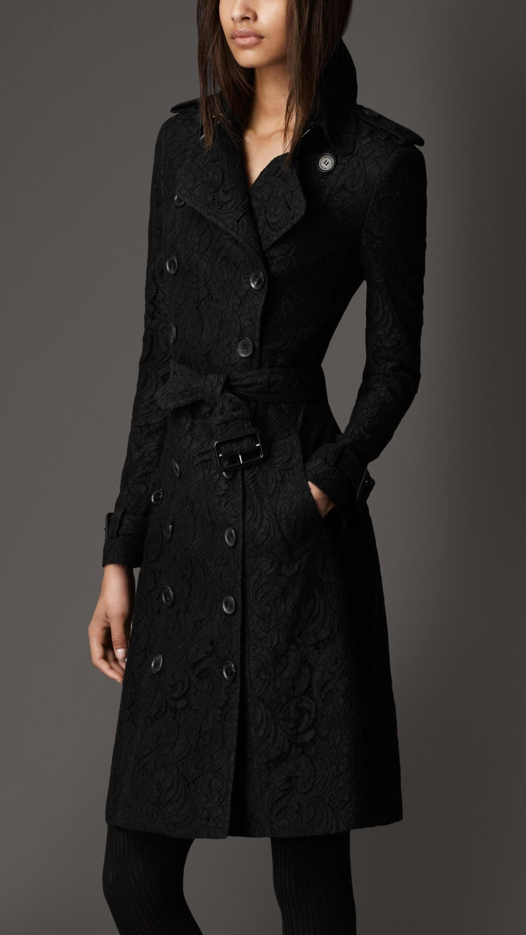 Long Lace Trench Coat Burberry 2095 Coat, Clothes