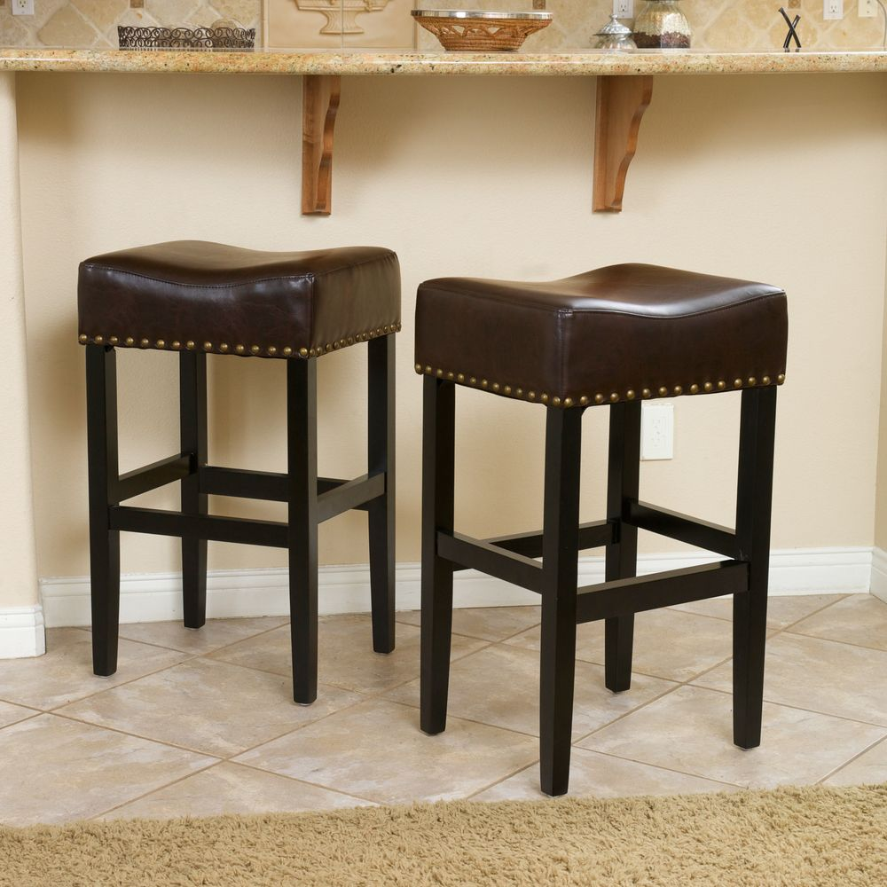 Christopher Knight Home Louigi Brown Backless Leather Bar Stool (Set of 2) - Overstock™ Shopping - Great Deals on Christopher Knight Home Bar Stools