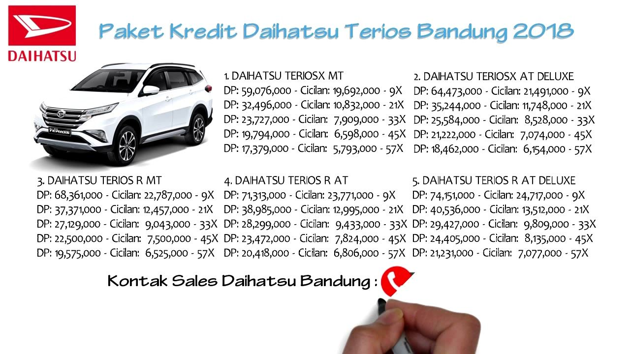 Kredit Daihatsu Terios Bandung Dp Dan Cicilan Oktober 2018