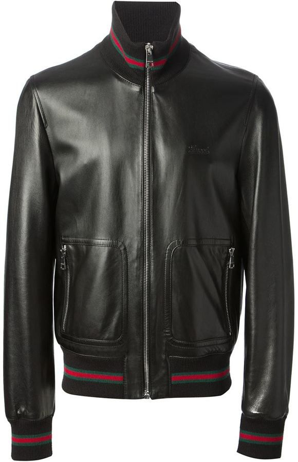 ca12bd98997a2f Black Leather Bomber Jacket by Gucci. Buy for  3