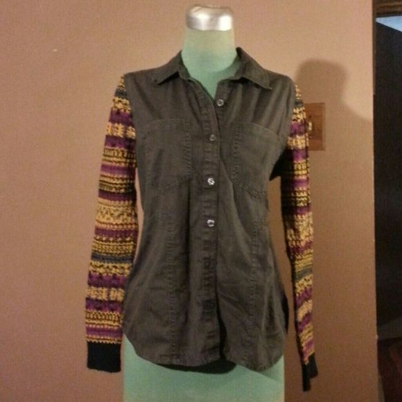 """Free People Shirt Black cotton denim button up front shirt with multiple colors design sweater sleeves ribbed cuffs 27""""long Free People Tops"""