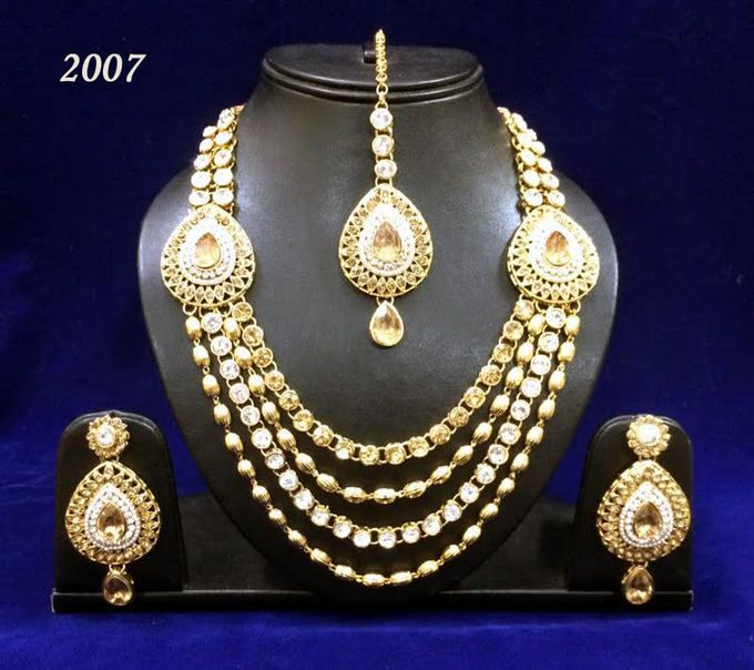 Amazing Gold Plated Stone Work Necklace Set1434