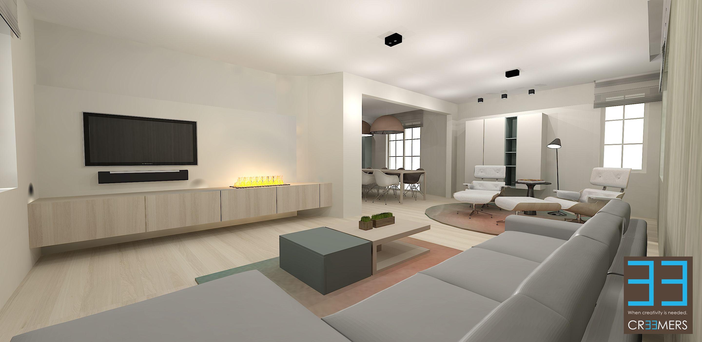 Modern landelijk interieur met eiken hout fineer accenten for Inrichting landelijk modern