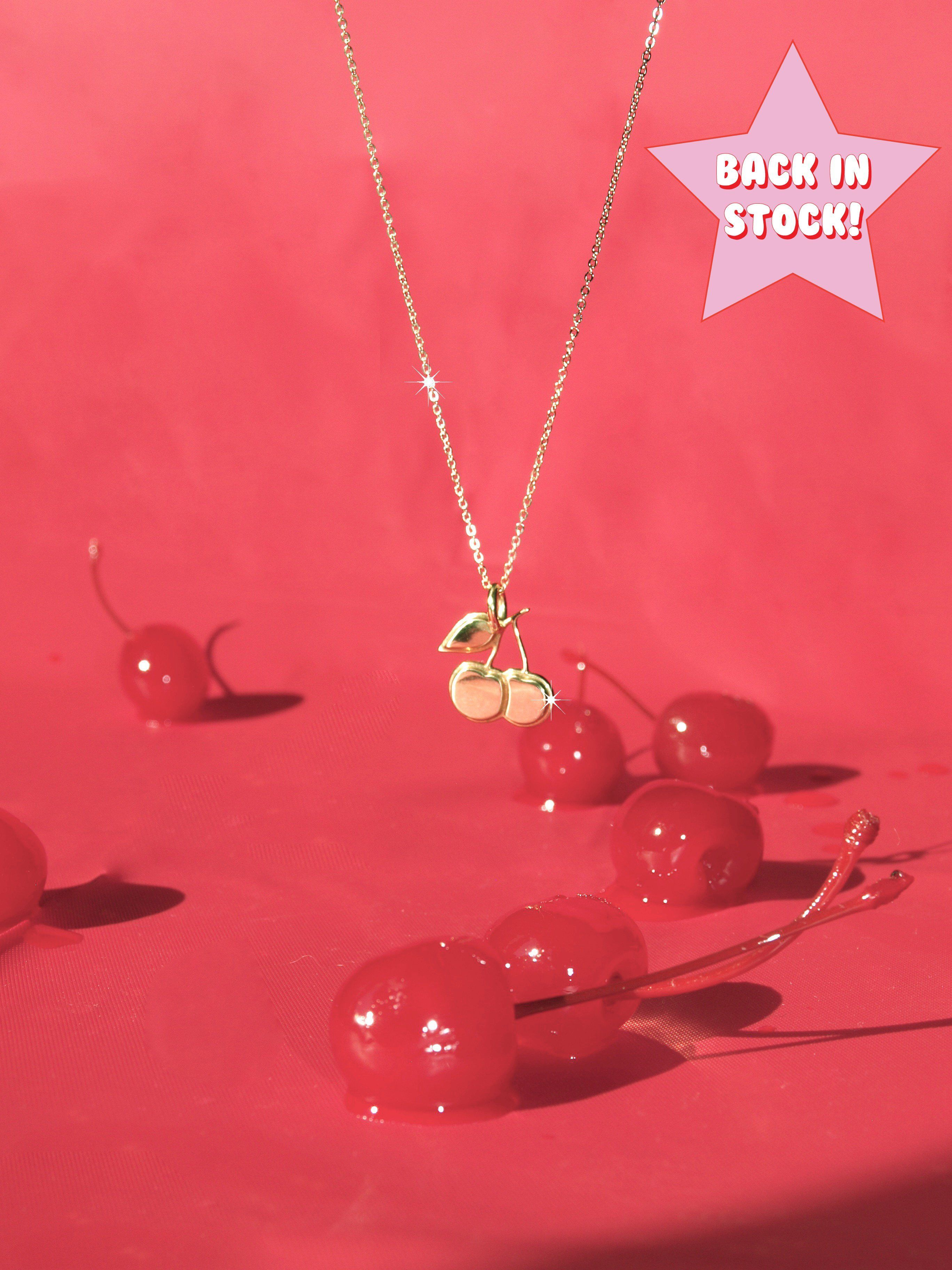 Cherries Necklace Cherry Necklace Aesthetic Vintage Red Aesthetic