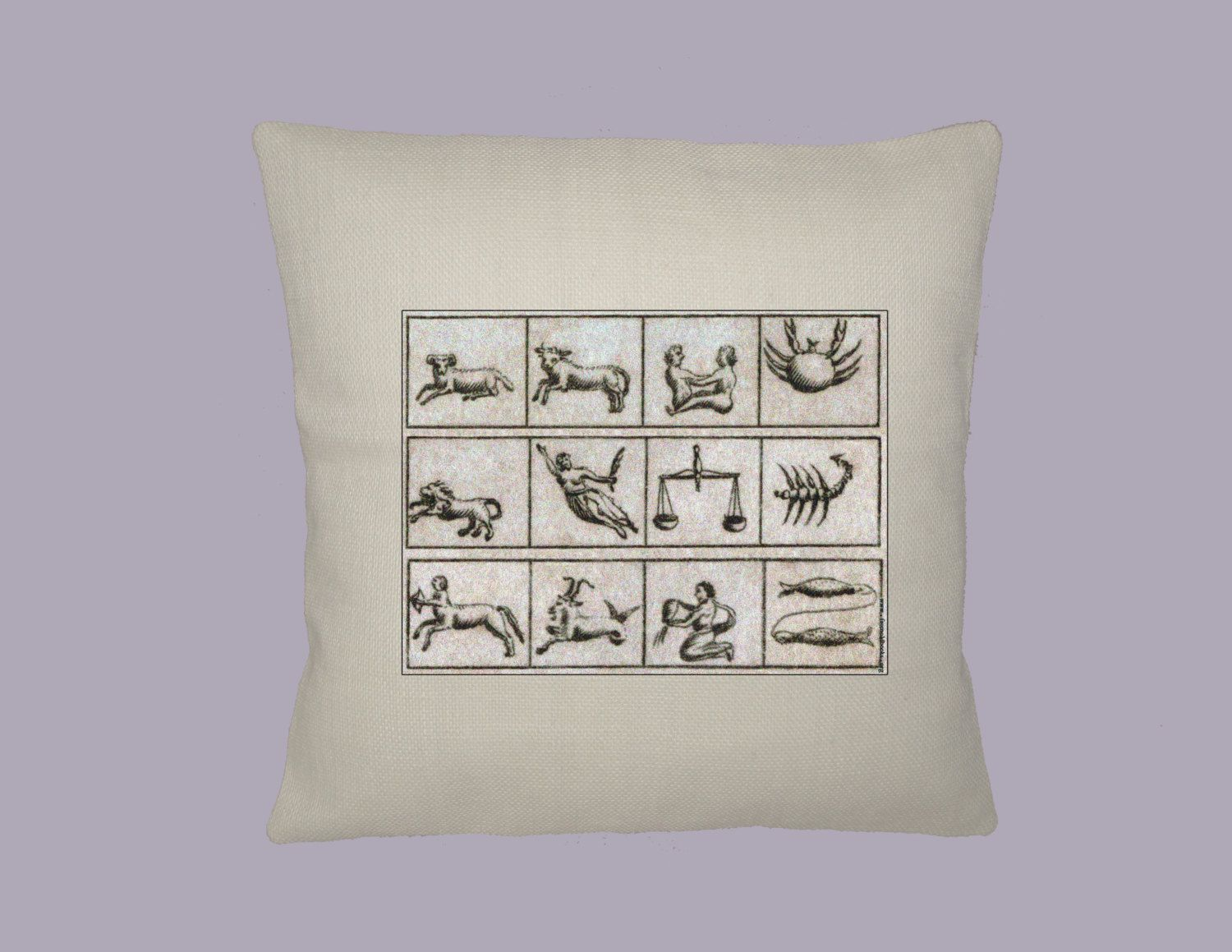 Ancient Astrological Signs Symbols HANDMADE 16x16 Pillow Cover - Choice of Fabric - any Image Color by WhimsyFrills on Etsy