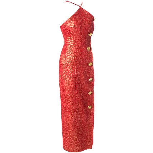 Preowned Norman Hartnell London Vintage Red Gold Dress Formal ...