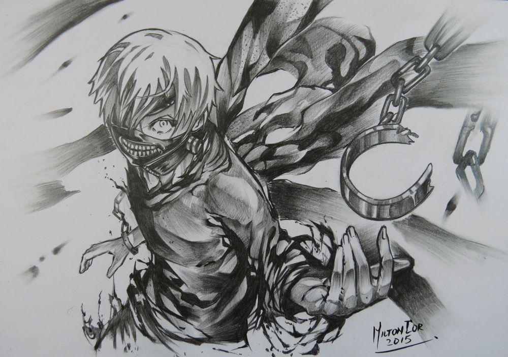 Картинки карандашом аниме токийский гуль