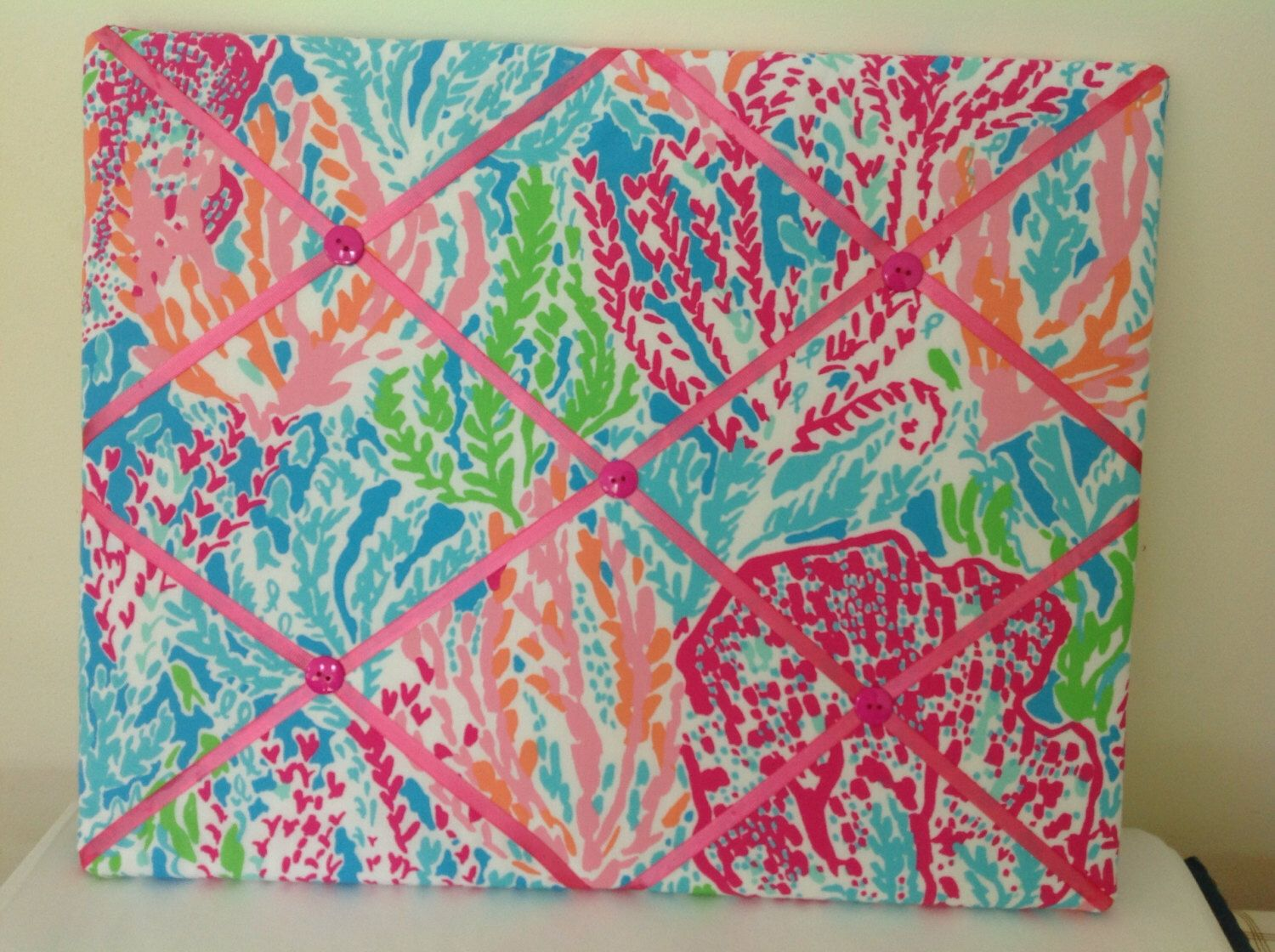 Lilly pulitzer fabric covered memo board in lets cha cha