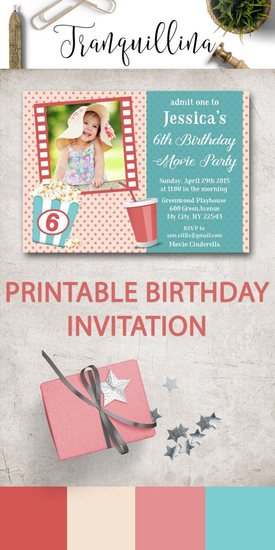Movie Party Invitation Printable, Photo Birthday Invitation, Movie ...