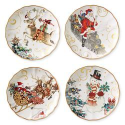 Williams Sonoma Christmas Plates.Twas The Night Mixed Salad Plates Set Of 4 2019 Holiday