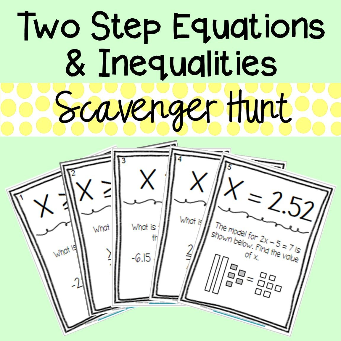 Two Step Equations And Inequalities Scavenger Hunt