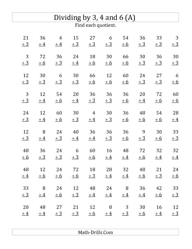 Dividing By 3 4 And 6 Quotients 1 To 12 A Division Worksheet Calisma Tablolari Matematik Calisma
