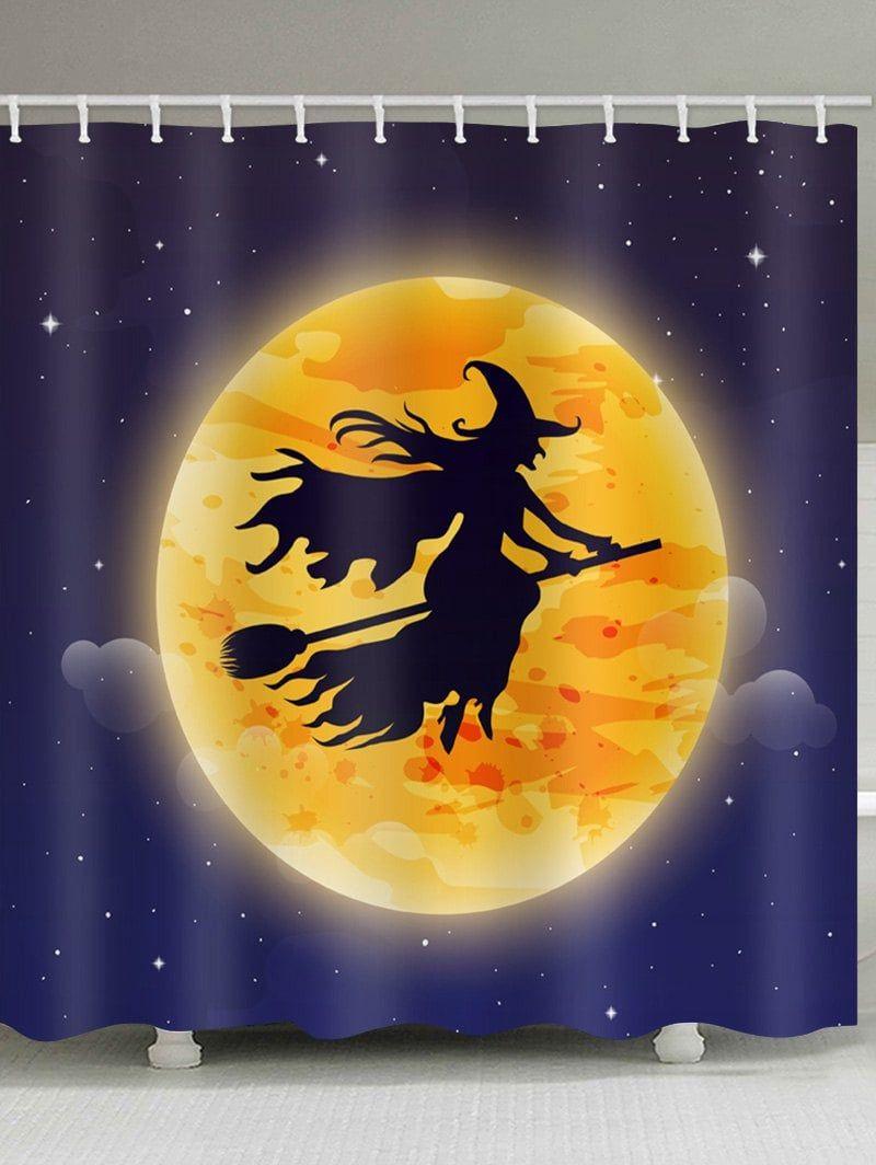 Halloween Moon Witch Print Waterproof Bathroom Shower Curtain