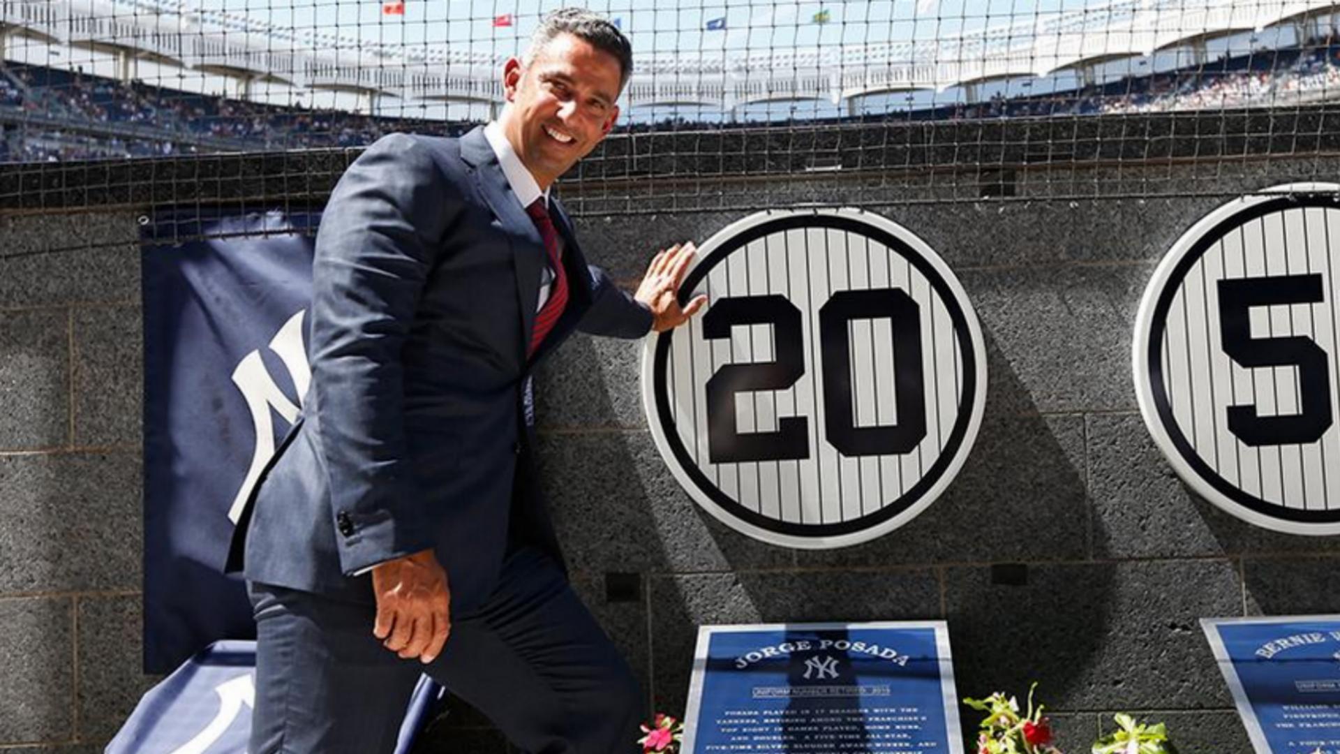 Yankees Jorge Posada Gets Number Retired Plaque In Monument Park New York Yankees Yankees Retired Numbers New York Yankees Baseball