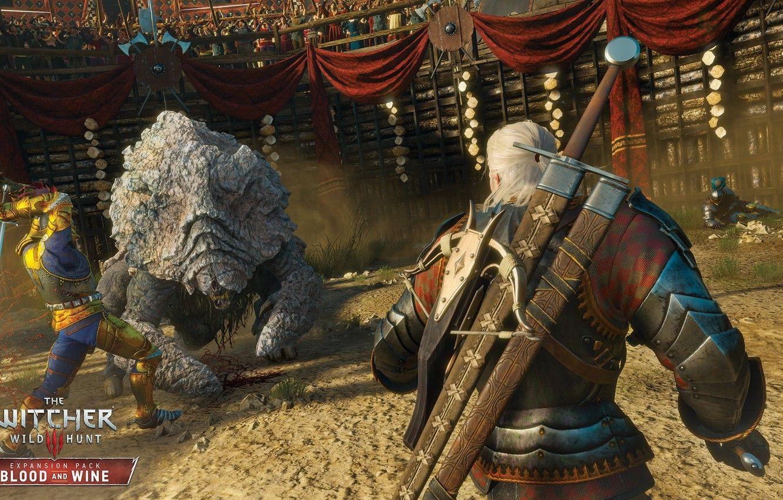 Photo wallpaper monster, swords, the Witcher, Geralt
