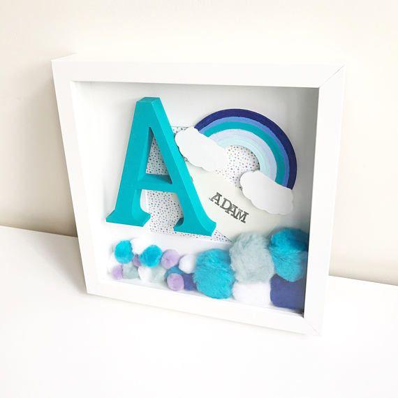 Rainbow Frame, Initial Frame, Personalised Decor, Pom Pom Frame ...