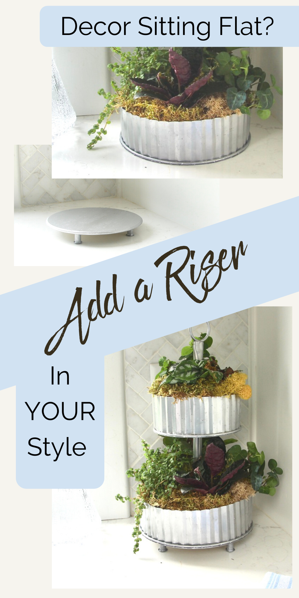 Tutorial to DIY a Display Riser for YOUR style and YOUR decor. These risers are a mashup of tray and throne. And your decor accessories will love them!  #DIYdecor #DIYdecoraccessories #DIYtray #diyriser #diydecordisplay #displayrisers #decorrisers