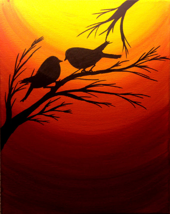 Original Sunset painting Christmas sale Love birds silhouette at sunset birds wall art Acrylic paint