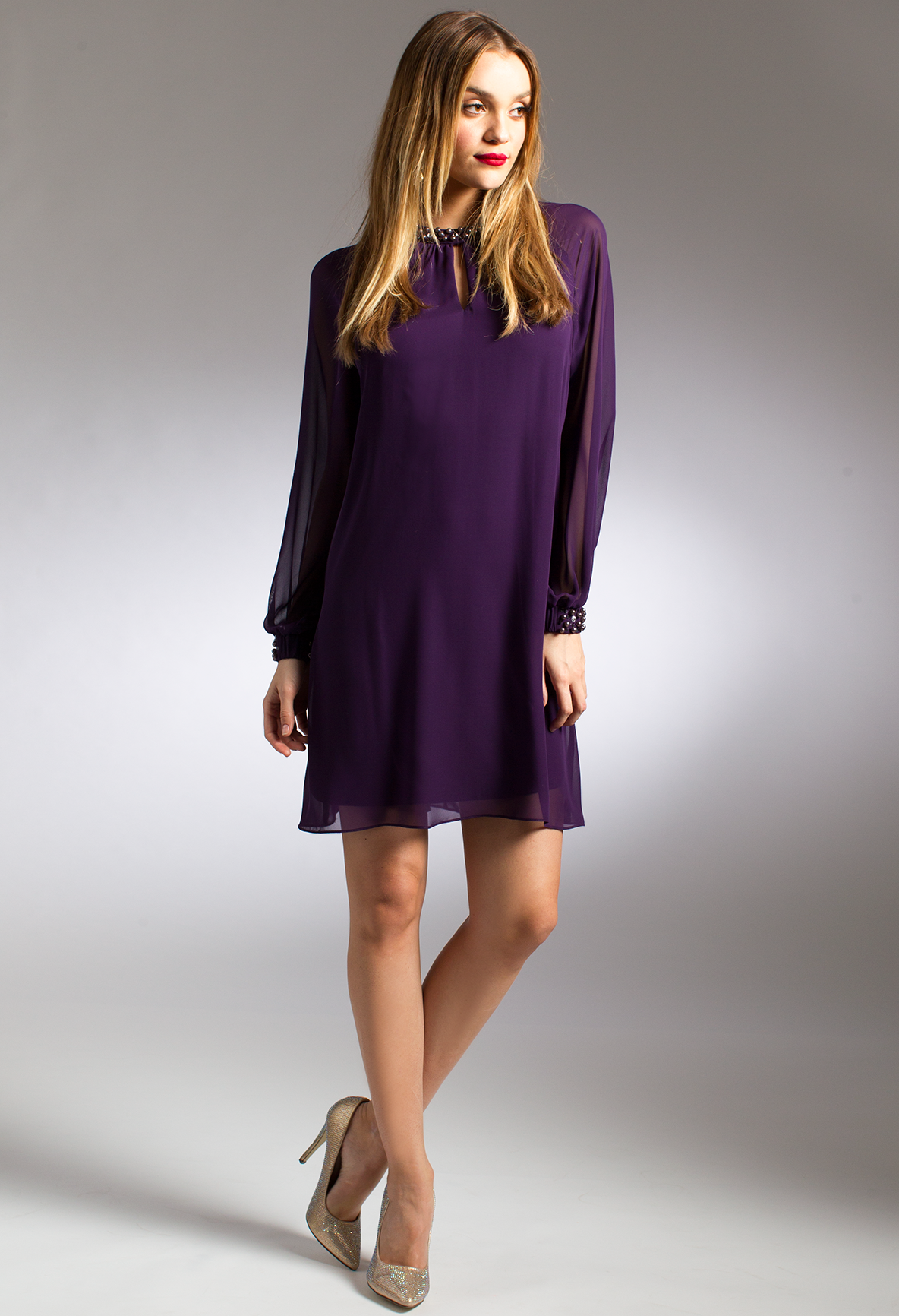 Shift dresses for wedding guests  Long sleeve Shift Dress with Pearl Trim camillelavie  PURPLE
