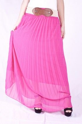 fuschia pleated skirt