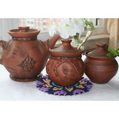 Natural Clay Stoneware Tea Set