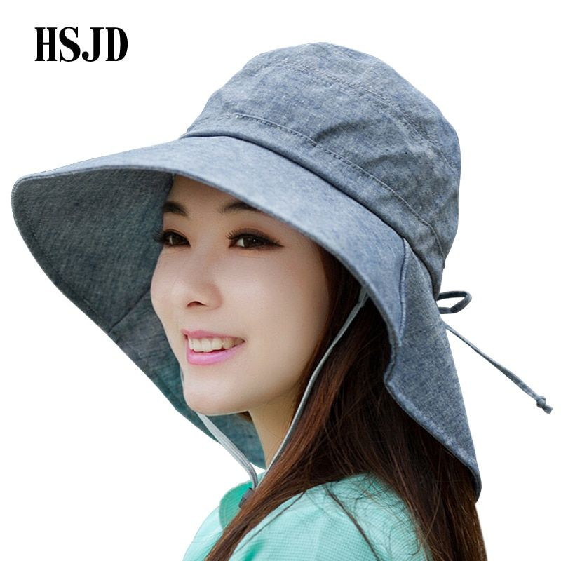 deb44f5a lady's summer cotton large wide brim beach hat for women 2018 new fashion  bow anti-