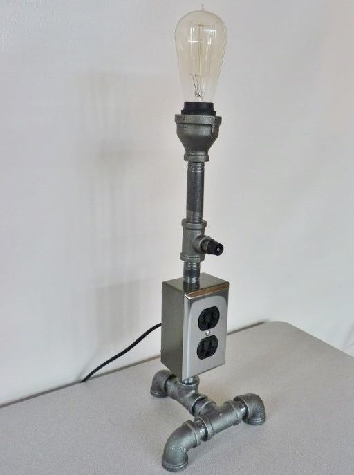 Black Iron Pipe Lamp With Electric Outlet, Chrome And Black, Antique Style  Bulb!