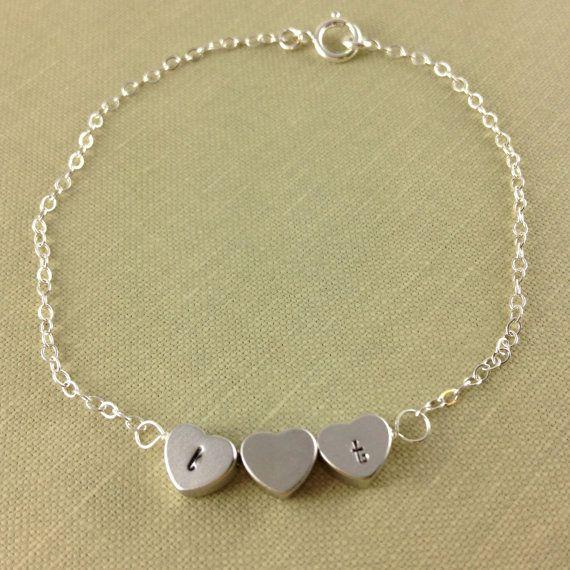 Heart Initial Bracelet Couple Bracelet by anatoliantaledesign, $29.00