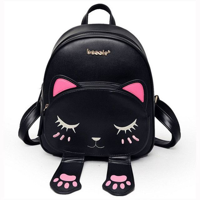 Cat Backpack Women Leather Backpacks Girl School Rugzak Black Cute ...