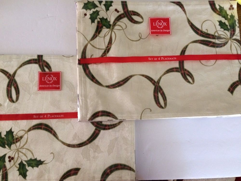 Lenox Holiday Christmas Table Linens Placemats Set Of 8 Reversible