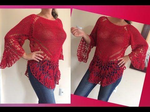 Cómo tejer túnica de mangas campana / Tutorial | Crochet y Dos ...
