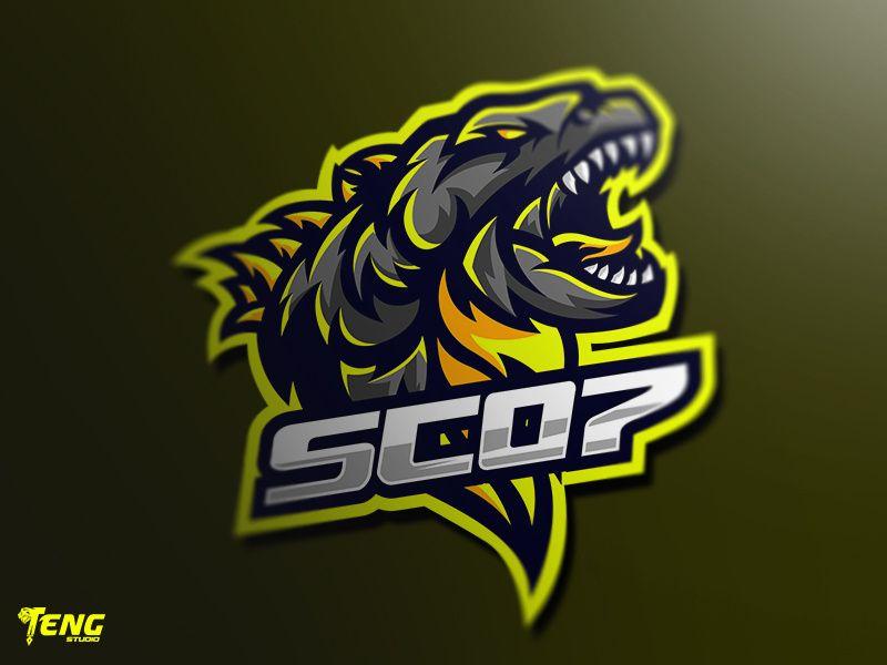 Sc07 Godzilla Bear Mascot Logo Character Vector Logo Character Logo Design Game Logo Design