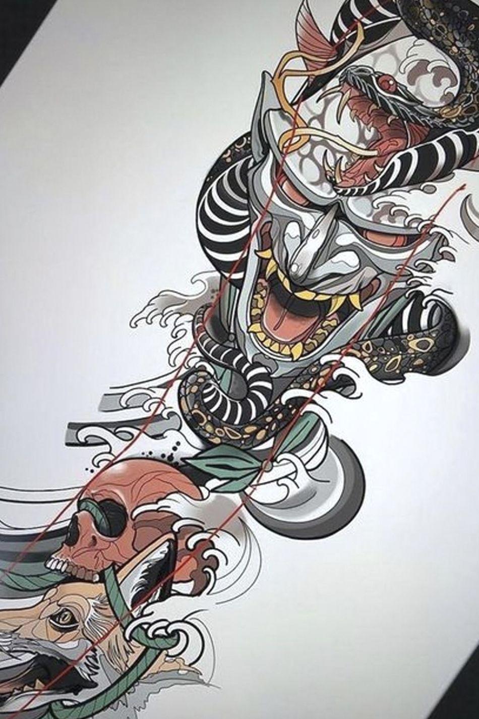 Эскиз тату рукав япония