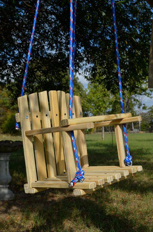 LARGE SIZE PINE Kids Wooden Swing, Backyard Outdoor Toys