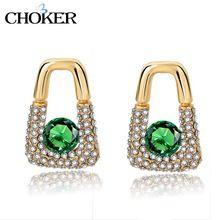 GARGANTILLA de Cristal Verde Pendientes Con Piedras Para Las Mujeres Aretes de Joyería de Moda de Oro Geométrica Brincos…