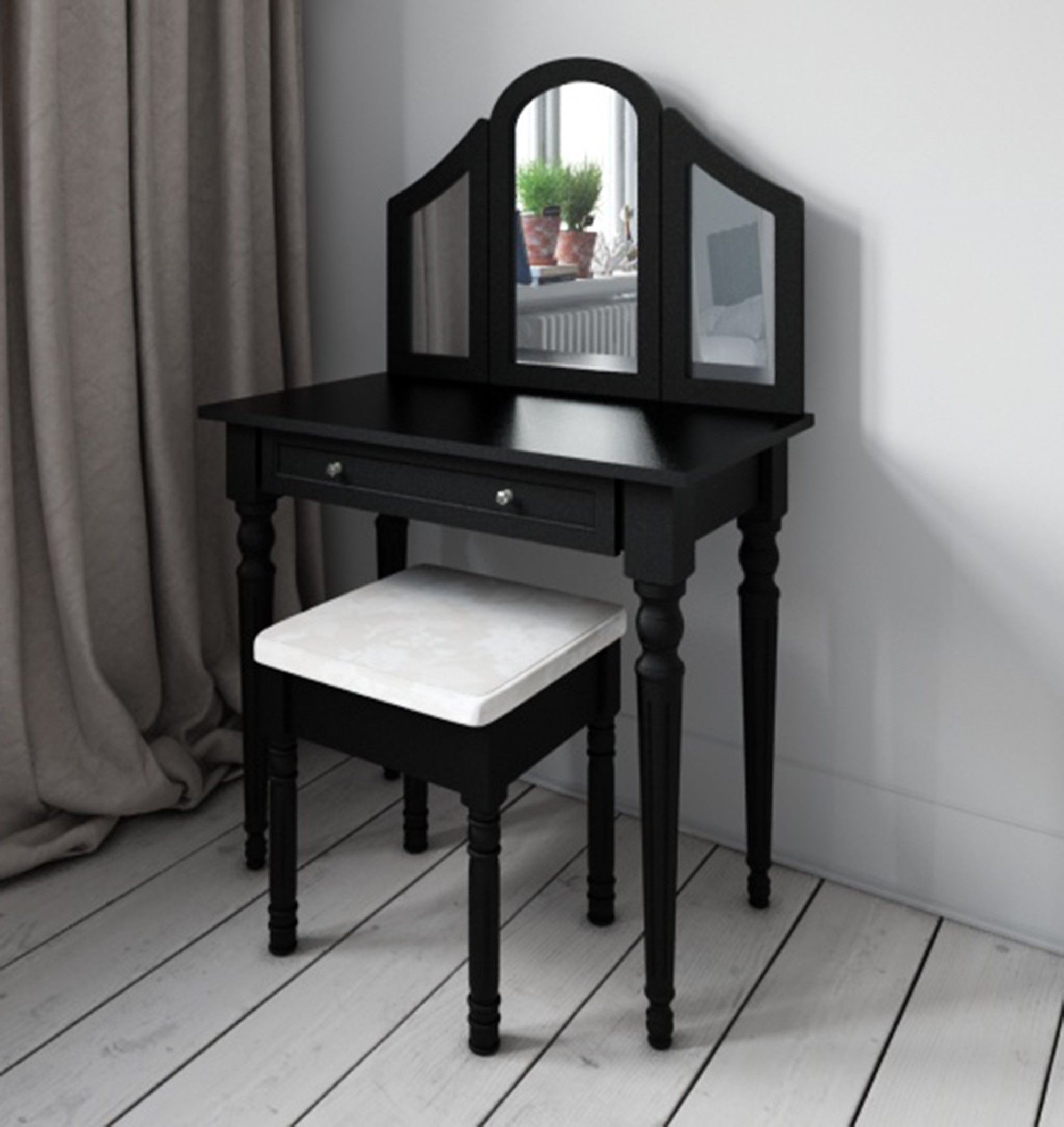 Dressing table with mirror black dressing table shabby chic  bedroom design  pinterest