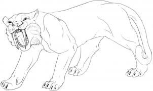 How To Draw A Saber Tooth Tiger Step By Step Dinosaurs Animals Free Online Drawing Tutorial Added Sabertooth Dinosaur Coloring Pages Shark Coloring Pages