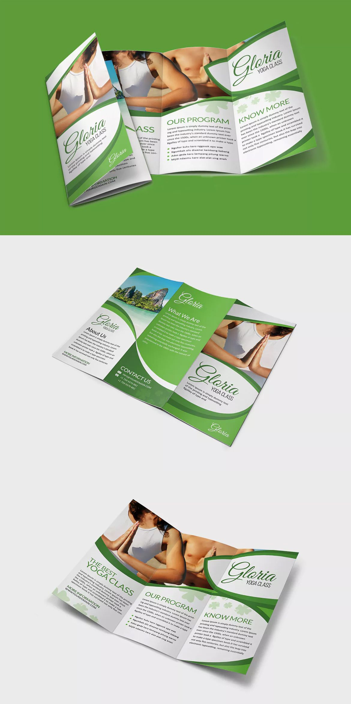 Yoga Class Brochure Template PSD | Brochure Design Templates | Pinterest