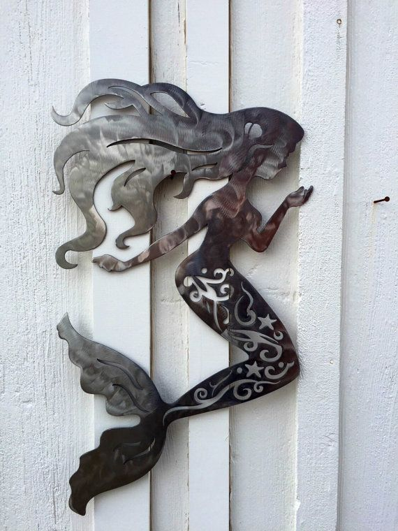 MERMAID METAL WALL ART Measures approximately 28 tall x ...