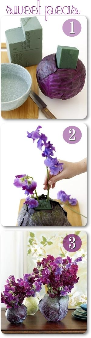 Beautiful plummy centerpiece idea using red cabbage and