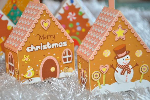 Christmas holiday gingerbread house 3D tree ornaments   mini favor - gift box templates free download