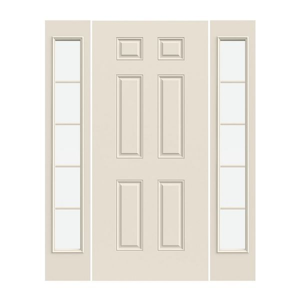 Prehung Exterior Steel 6 Panel Door W 5 Lite Low E Sidelites Prehung Doors 6 Panel Doors Exterior Doors