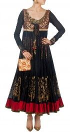 Black tiered and printed dress with waistcoat - Anju Modi