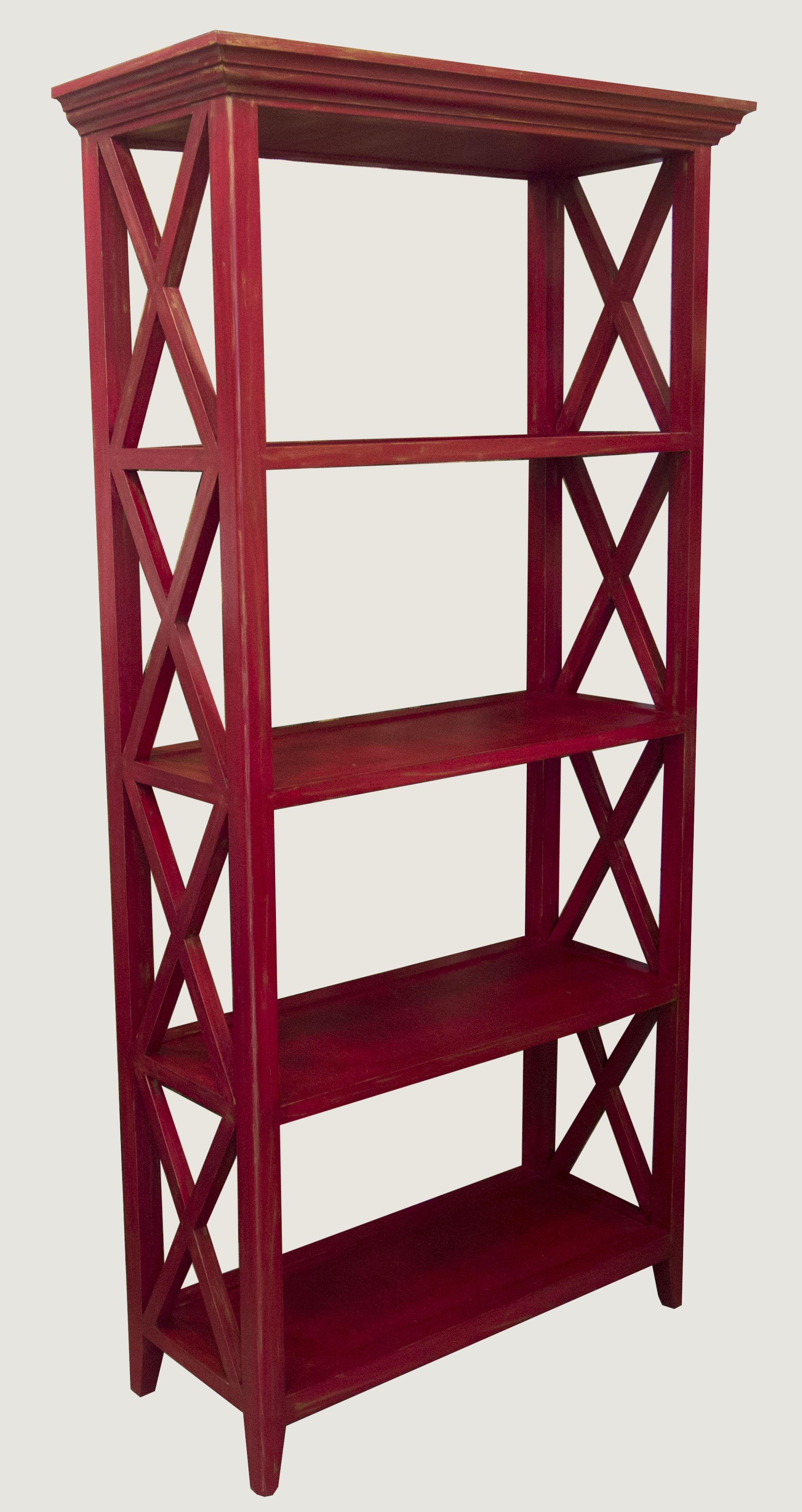 Mueble librero pintado a mano en color rojo vino burdeos - Muebles pintados en plata ...
