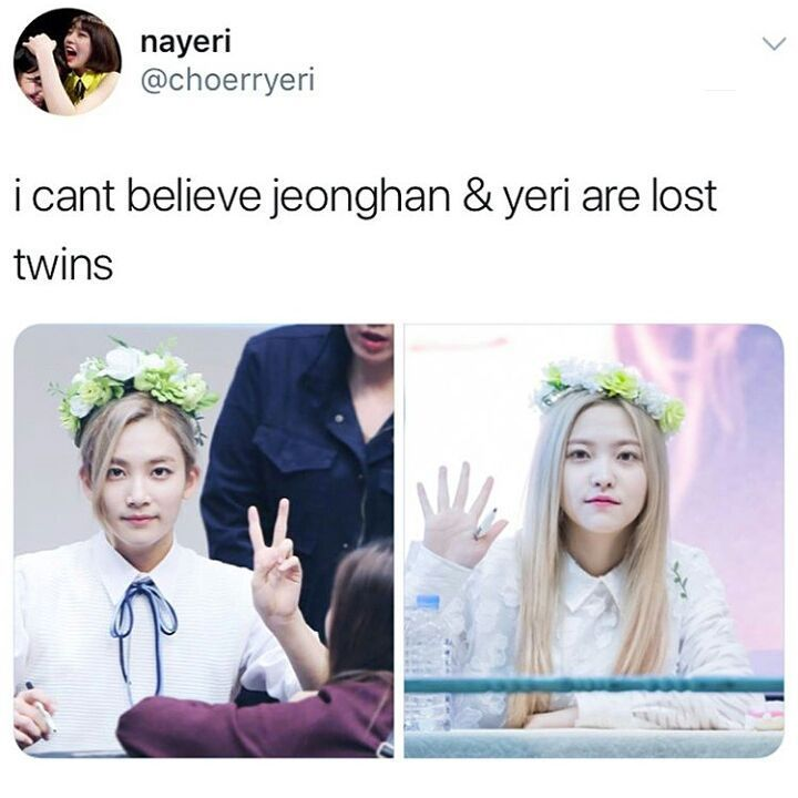 Except literally everything aside from the hair, clothes and flower crown is different. Their eyebrows don't have the same inclination or thickness; their noses are angled in different directions and Jeonghan's is slightly wider; their mouths are turned differently and even their lips aren't nearly similar.