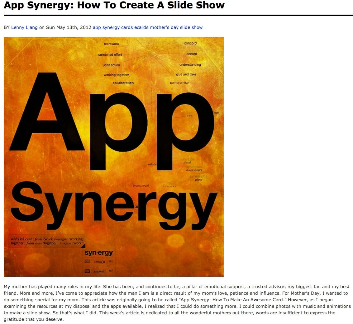 this weeks app synergy article looks at a slide show that i made for my mother