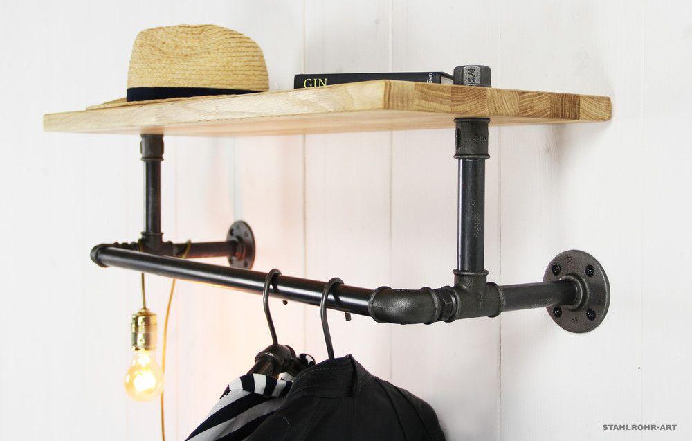 Garderoben Industrie Design Wandgarderobe Kleiderstange Ein