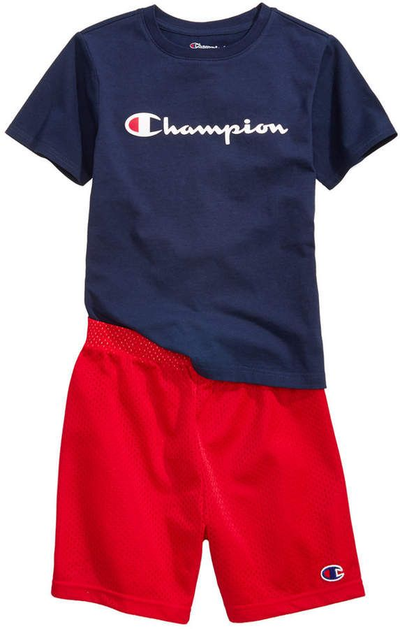 ba9fe7529ca2 Champion Heritage 2-Pc. Logo-Print T-Shirt   Shorts Set