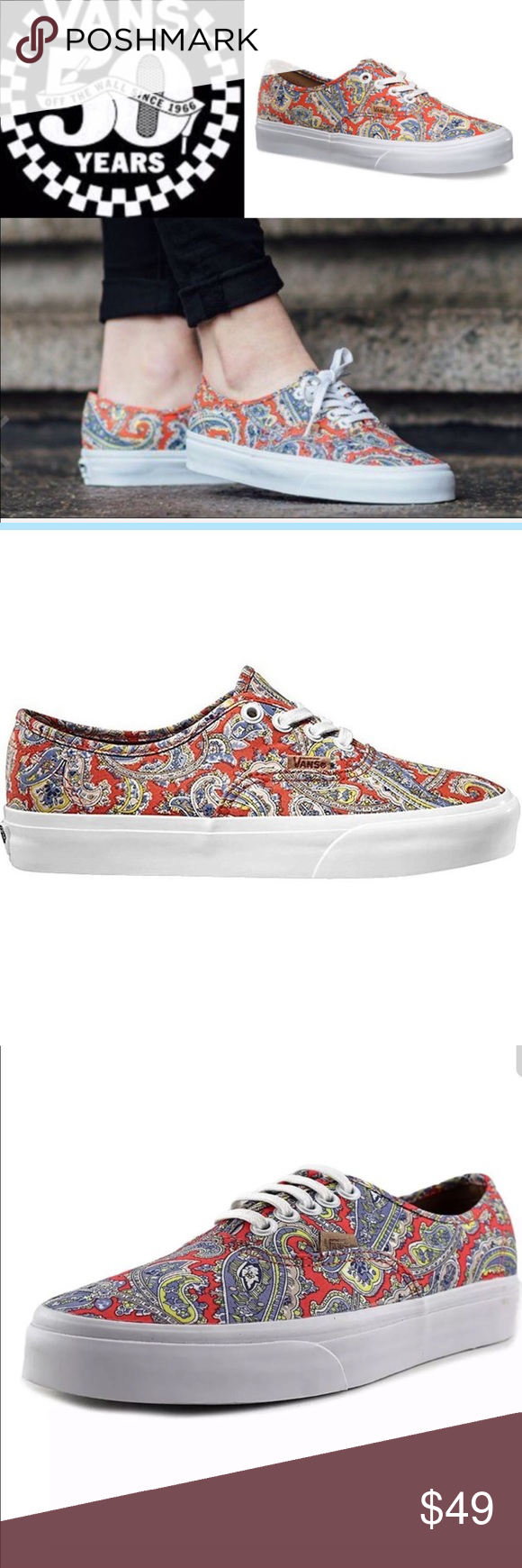 15d56667465fe2 Brand 🆕 Boho Paisley HTF Authentic Vans Sneakers Brand New in Box HTF Vans  paisley cayenne authentic skate shoe Traditional canvas colorful upper in  burnt ...