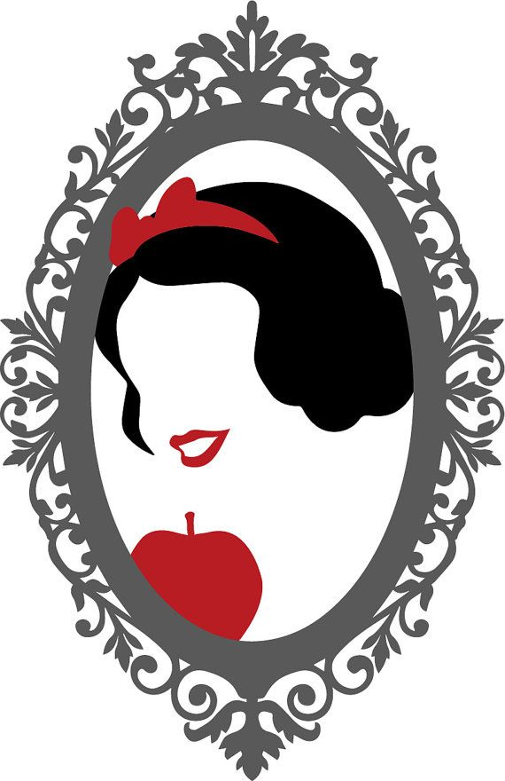 Snow White Mirror Mirror Silhouette Embroidery Design by JustUsTu ...